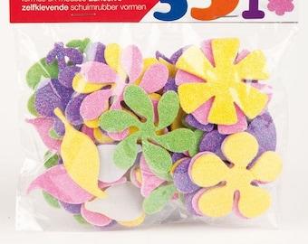 Adhesive shapes foam glittery flowers x 48 - APLI Kids - Ref 13078 - until the stock!
