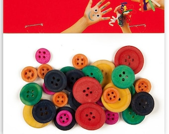 Wooden multicolor x 30 - love - Ref 13481 - until the stock buttons assortment!