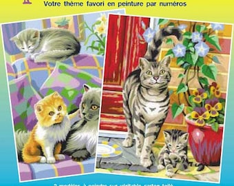 "Lot 2 x paint by numbers ""Mischievous kittens"" 25 x 30 cm (from 8 years) - Ref PBNJ41023 - until the stock!"