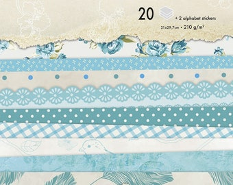 Block background papers A4 blue flowers - 20 sheets - Ref 95176C - until the stock!