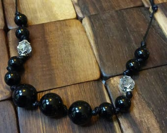 Simple Necklace of Polished Onyx with Austrian Crystals