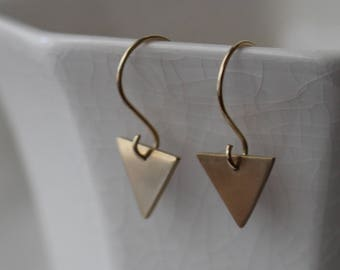 Tiny Gold Triangle Dangle - Triangle Earrings - Simple Gold Earrings- Triangle Drop Earrings