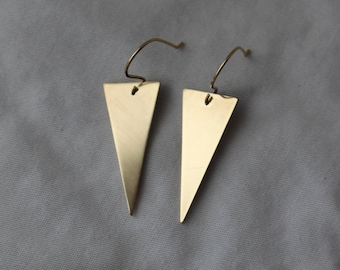 Gold Triangle Dangle Earrings- Brass Triangle Earrings- Triangle Drop Earrings