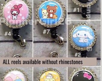 5990d9c33 Rhinestone Sanrio retractable ID badge. All reels available without  rhinestones