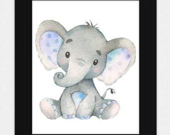 Baby Boy Elephant Nursery Print JPEG 8 by 10 / Digital File