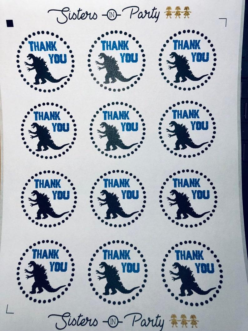 Godzilla Personalized Stickers Dinosaur Stickers Godzilla Thank You Tags Godzilla Dino Party Ready In 24 Hours