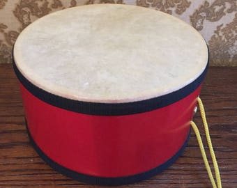 Red Child's Drum with Yellow String for Carrying