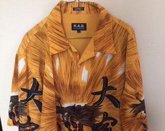 Mens KAD Oriental Themed Mens Shirt Size Large