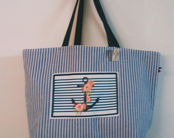 Tote murielm wave pattern, anchor, Navy stripe, flower, provence, fabrics Navy print, bag, Kit, shop murielm graveson
