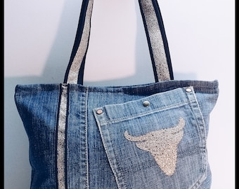 Bag of denim and faux leather murielm printed Bull Head Camargue, Provence, Provencal shop, graveson, leather, luggage, gifts.