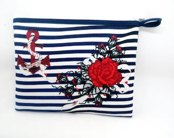 Kit murielm, printed fabric, Navy anchor and flowers, wave, Provencal shop luggage, leather, Provence, graveson, personalization