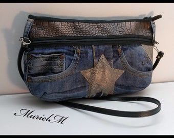 Designer MurielM bag of denim and faux leather, leather, luggage, handmade, french craftsmanship, made in France, Provence, Camargue