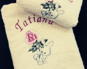 Customizable embroidered Terry towel with first name