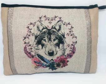 Pouch pattern Wolf murielm, craft, made hand, Provence, suede, silver, made in France, Provence shop fabrics murielm, leather.