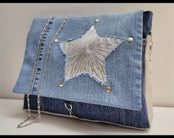 Handbag creation murielm, denim, suede and faux leather, handmade bag, Provence, leather, Star, customization, Camargue shop