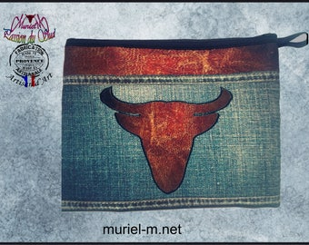 Kit rectangle faux denim and leather Bull head design