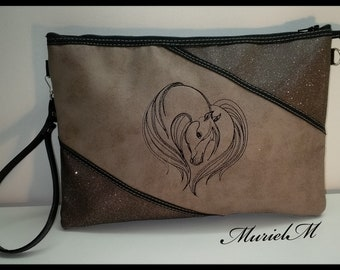 Designer MurielM bag, unique model. Handmade bag, faux leather, horse, Provence shop embroidery murielm, bags, luggage, Provence