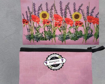 Provencal Kit Muriel M sunflower printed Lavender poppy designs handcrafted French flowers makeup bag luggage