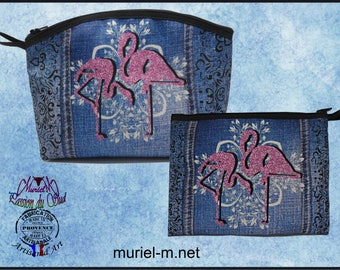 Kits murielm fabric print, flamingos, jean, Camargue leather, Provencal shop, graveson, luggage, gifts, souvenirs, deco.