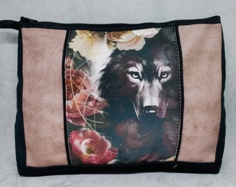 Wolf and flowers pattern clutch