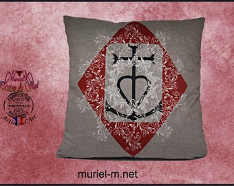 Cushion murielm Camargue cross, made in France, customization, French fabric, french, Interior, gifts, Provence, crafts