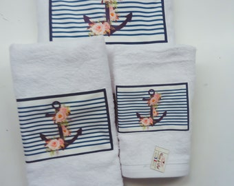 Towel murielm pattern Navy anchor, Provencal fabrics, lingerie, Provencal linens, customization,