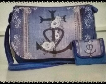 Bag of Camargue cross murielm, denim and white flowers, fabric printed Camargue Camargue Provence luggage, Provence graveson leather