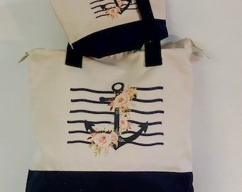 Canvas fabric bag Navy Blue and cream