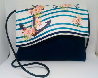 Handbag murielm, wave, anchor, atelier provencal murielm, craft, made in France, Provence murielm creation, luggage, leather