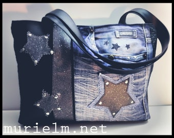 Bag murielm, denim and faux leather, French creation, pouch, Provence, luggage, travel bag, gift, made in France, Star bright