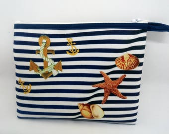 Kit murielm, sailor Motif and shells, printed fabric shop Provencal graveson, Camargue, souvenir gift, luggage, leather