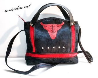 Bag designer murielm Camargue Bull Head, model unique Camargue, Provence, leather, luggage, toiletries, craft