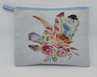 Denim upper printed pattern flowers and feathers