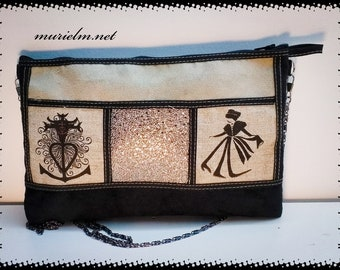 Unique designer model MurielM bag. Bag, cross pattern of Camargue and arlésienne, leather luggage, Camargue, Provence, graveson