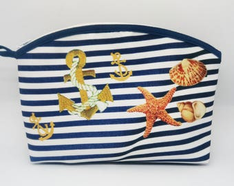 Kit pattern sea and shells murielm pouch sea, Duffle Bag, beach, Navy stripe, Provence craft workshop camargue Kit, sewing.