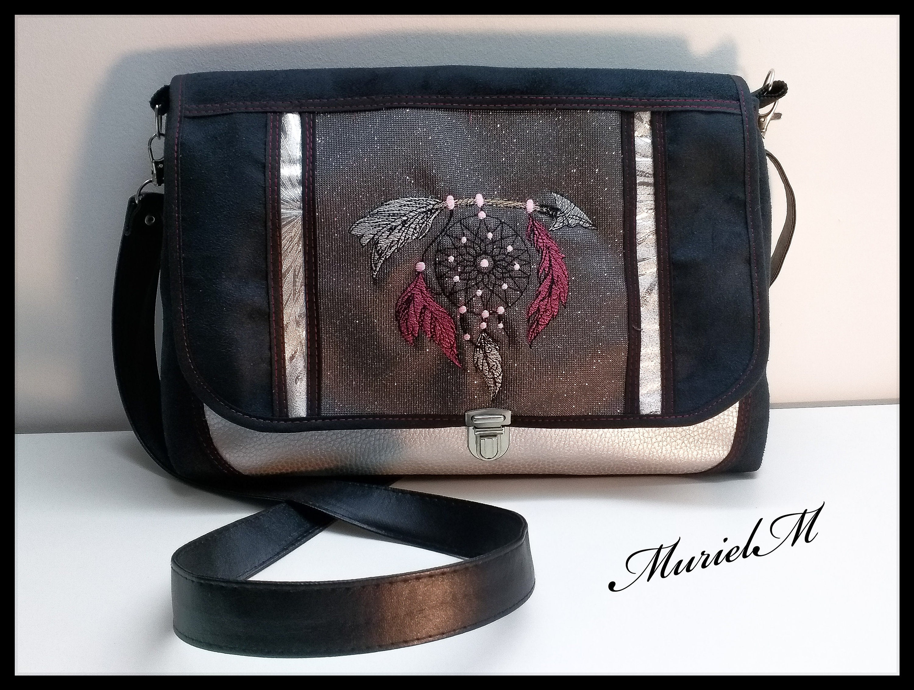 Unique shaped Messenger bag. Designer MurielM bag. embroidery ... 75044cc19b911