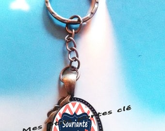 Key ring with cabochon glass 25 x 18 mm perfect