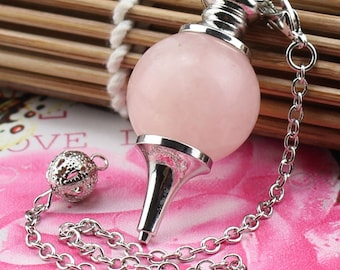 1 pendant and pendulum quartz pink 18 mm + chain
