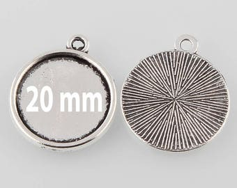 10 holders stick pendant 20 mm cabochon