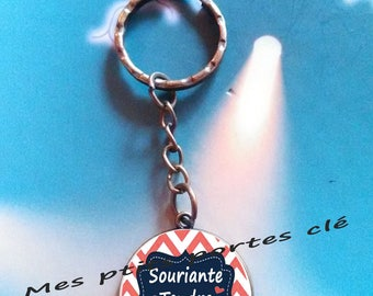 Keychain with 25 mm cabochon glass perfect
