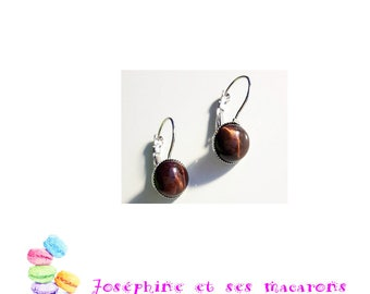 Silver Earrings and her Tiger eye cabochons