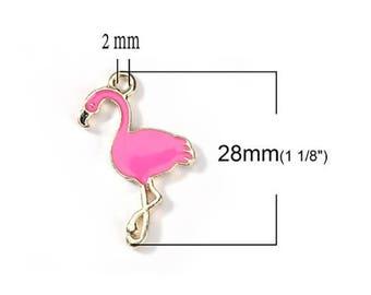 5 Flamingo Pink charm enamel gold tone 28 x 18 mm