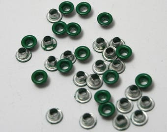 Dark green set of 40 eyelets