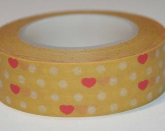 Masking (washi) tape - orange with polka dots and hearts