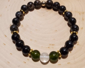 gift for Cancer black anklet- chakra jewelry Aries gifts mens choker black gemstones Tektite bracelet New Age jewelry