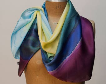 Blue and turquoise 100% Silk Scarf Wearable Art