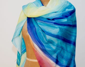 """Turquoise Hand painted 100%Silk Scarf; Turquoise, Blue, Yellow, Burnt Sienna, 44""""x44"""""""
