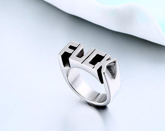 IN STOCK beautiful Signet Ring stainless steel fuck, punk, biker, Gothic