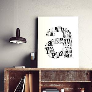 typography print black and white prints Typography print letter u typography print modern wall art letter u print modern wall decor