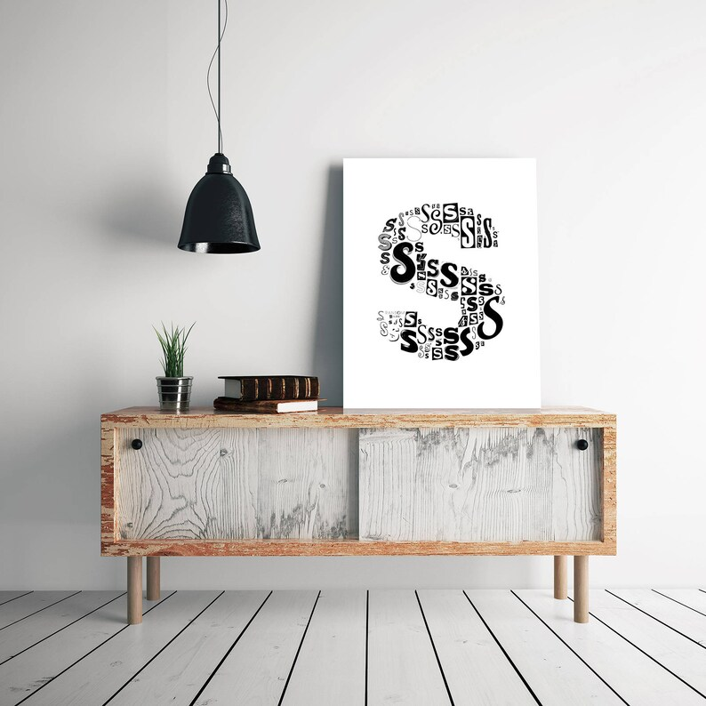 typography print modern wall decor typography print Letter S Print Download black and white prints modern wall art letter s print